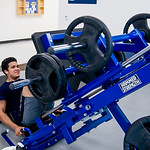 Student Pedro Galvan workin out in Dugan to relieve stress of FInals