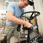 Sterling Smith works on the BUV project in the engineering lab.
