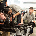 Dr. Simionescu instructs students on where to make adjustments as they prepare the BUV for transportation.