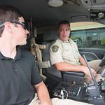 TAMU-CC student intern Reid Dunagan prepares for a ride along with game warden Jimmy Lindsey.