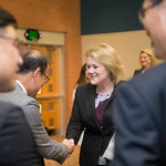 Kelly M. Quintanilla, president and CEO of Texas A&M University-Corpus Christi greets guests at the MOU Signing. Tuesday January 30, 2018 in Legacy Hall.