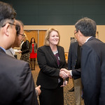 Kelly M. Quintanilla, president and CEO of Texas A&M University-Corpus Christi greets Mr. Heonsoo Kim, principal of the Sejong Academy. Tuesday January 30, 2018 during the MOU Signing in Leg ...