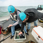 TAMU-CC Conrad Blucher Institute research engineers Alistair Lord (left), and Hugo Mahlke prepare a module that will be attached to the clamperatus, during their installation of the CCPORTS  ...