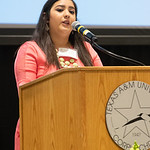 Amanda Sanchez shares her stories from her obstacles achieving her higher education in the engineering field. Friday April 6, 2018 during the Friends of Engineering Luncheon at Texas A&M Uni ...